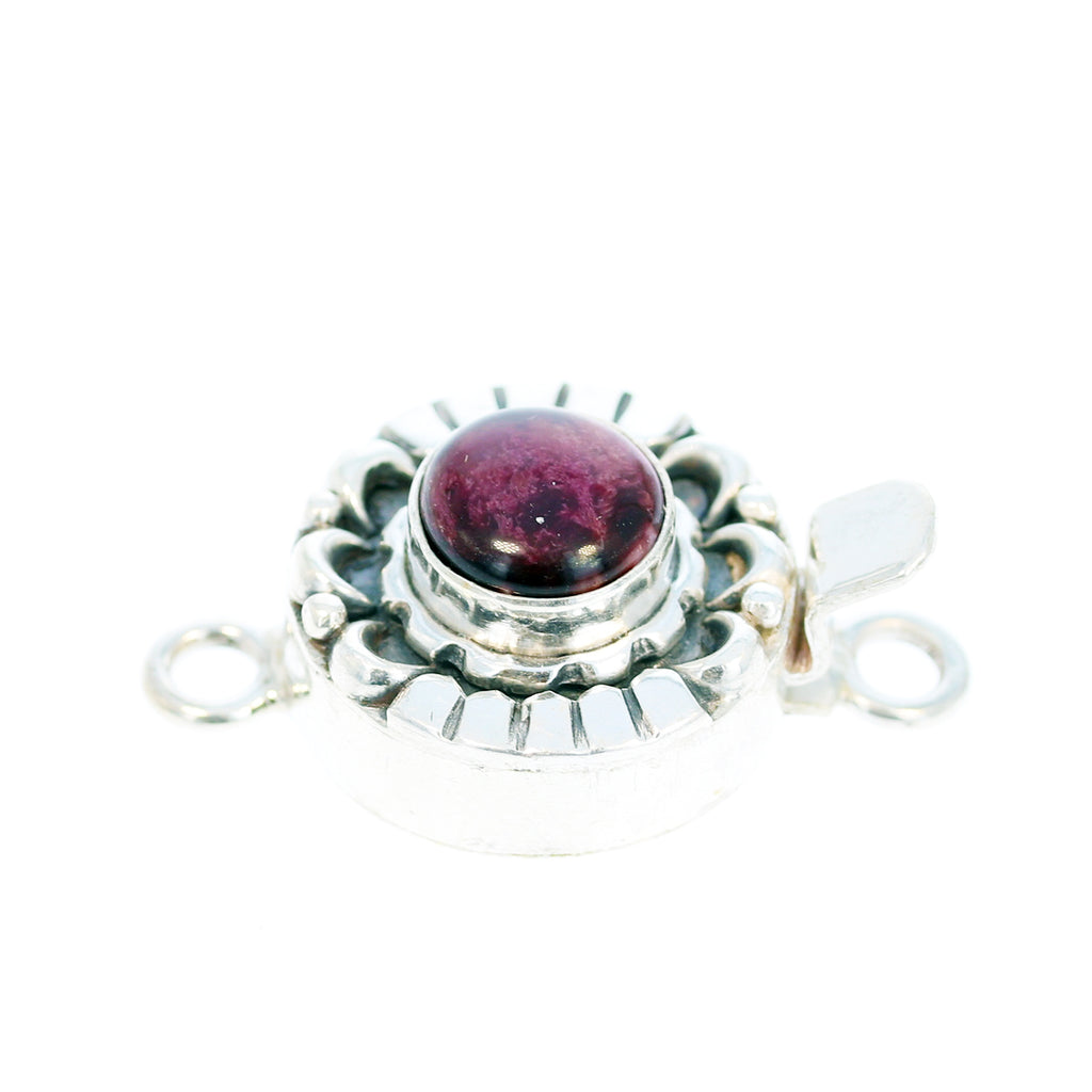 PURPLE SPINY OYSTER Clasp Sterling Moon Petal Round 8mm
