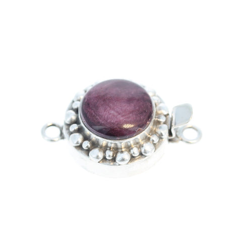 PURPLE SPINY OYSTER Clasp Sterling Dot Design Round 14mm