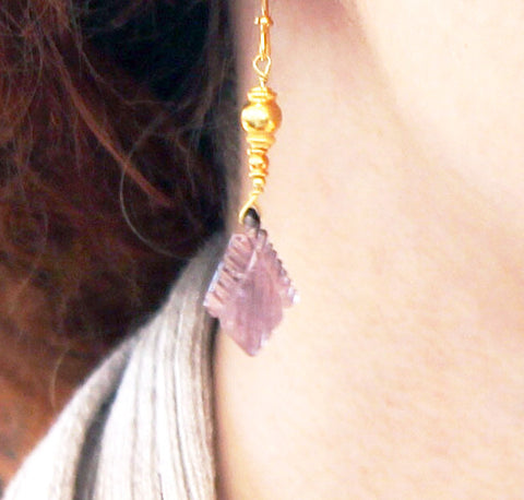 18K GOLD PLUM TOURMALINE EARRINGS - New World Gems - 3