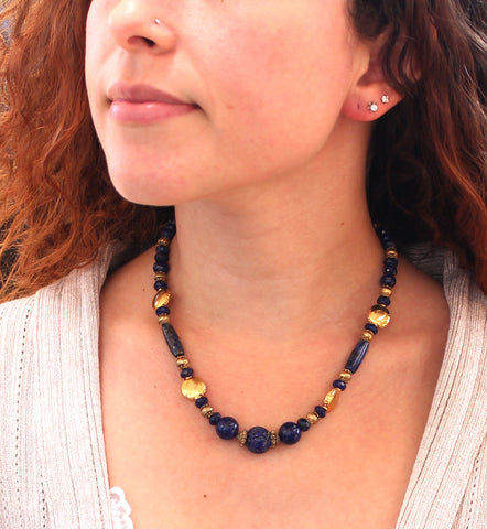 "LAPIS FACETED and CARVED BEADS NECKLACE GOLD VERMEIEL 17"" - New World Gems - 2"