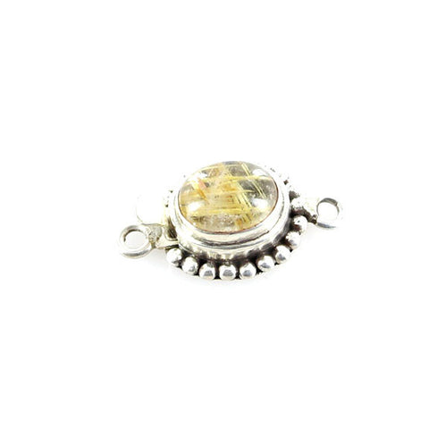 Gold Rutilated Quartz Oval Single Dot Design Sterling Clasp - New World Gems