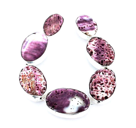 Sterling Rimmed Purple SPINY OYSTER BEADS 7Pcs - New World Gems
