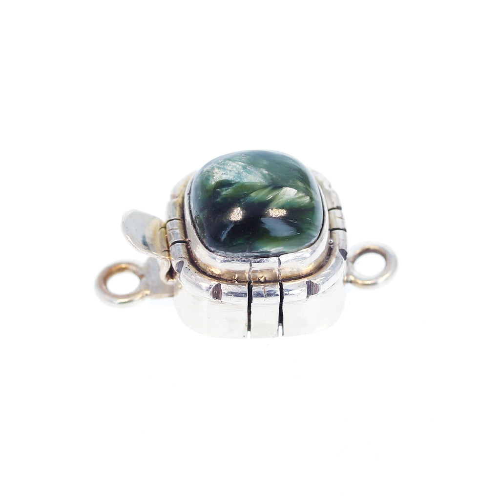 Seraphinite Clasp Sterling Silver 10mm Cushion Shape