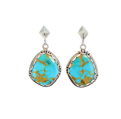 Large KINGMAN TURQUOISE Earrings Brilliant Blue Golden Southwest