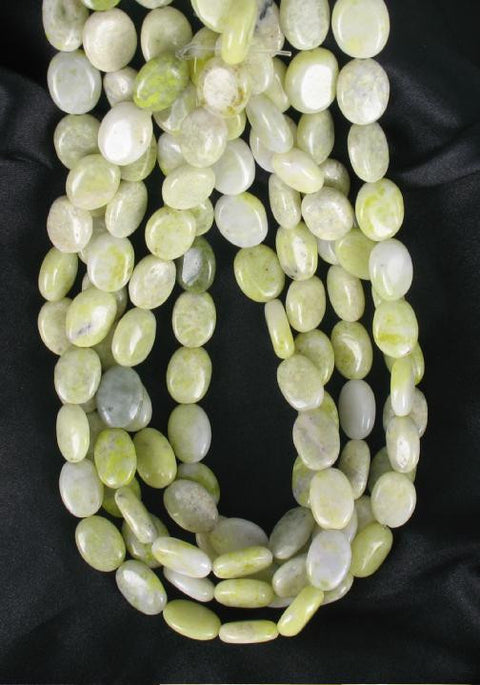 SERPENTINE NEW JADE 11.5x15mm OVAL BEADS - New World Gems