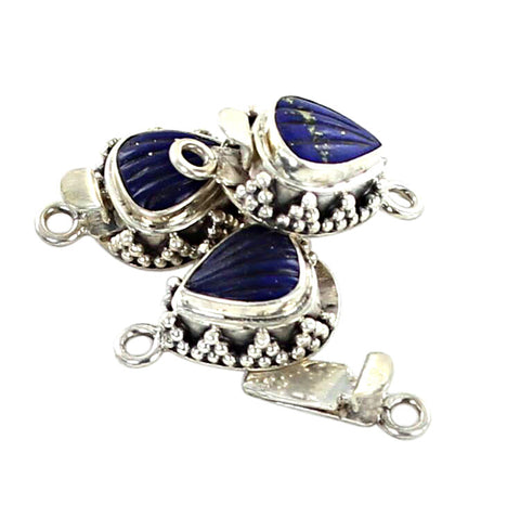 Lapis Clasp Shell Sterling Silver Carved - New World Gems