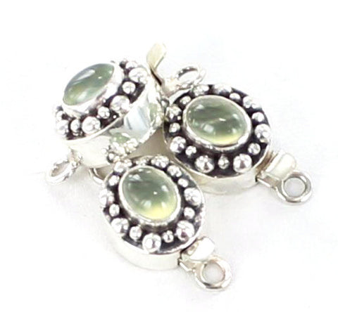 PREHNITE CLASP STERLING SILVER AUSTRALIAN OVAL - New World Gems