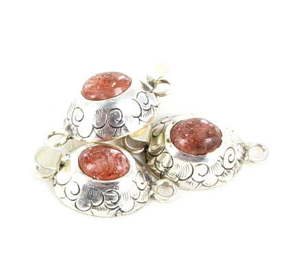 SUNSTONE CLASP STERLING ETCHED - New World Gems
