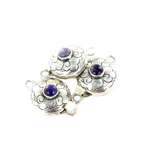 Sugilite Clasp Round Sterling Etched Floral - New World Gems