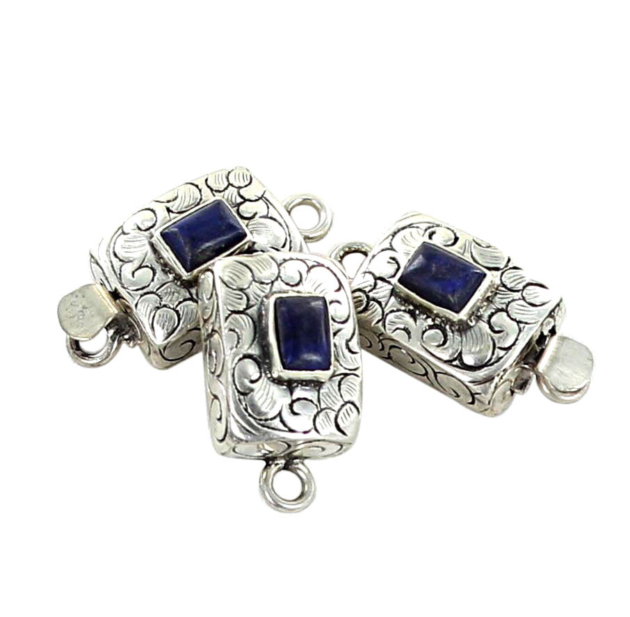 Lapis Clasp Sterling Cushion Floral Carved - New World Gems