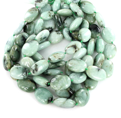 JADE LARGE OVAL BEADS CELADON GREEN #2 - New World Gems