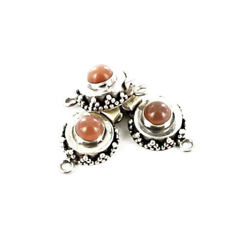 Peach Moonstone Clasp Granulated Round - New World Gems
