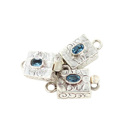 Faceted Light Blue Topaz Clasp Floral Design - New World Gems