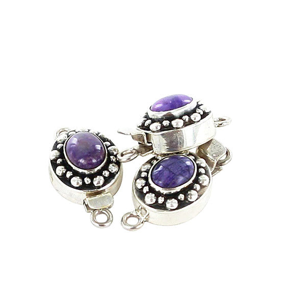 SUGILITE CLASP STERLING OVAL DOT DESIGN9x7.5mm - New World Gems