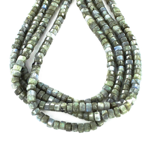 LABRADORITE BEADS 3 SIDED CYLINDER 9mm - New World Gems - 1