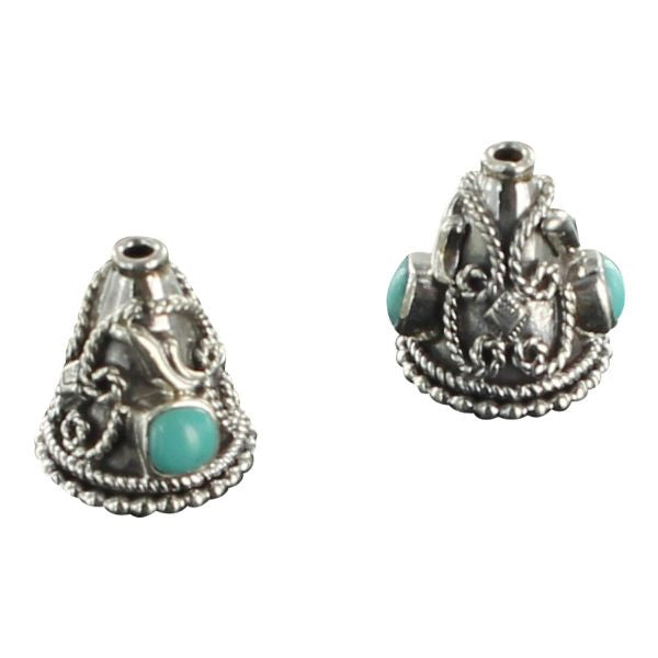 STERLING SILVER MEXICAN TURQUOISE END CONES BEADED DESIGN - New World Gems