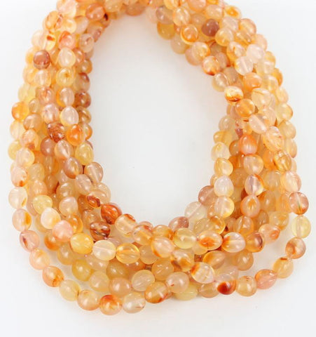 "ORANGE CARNELIAN EGG BEADS 3 SIDED 10x8mm 16"" - New World Gems"