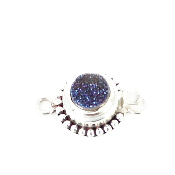 Purple Drusy Quartz Sterling Clasp Round - New World Gems