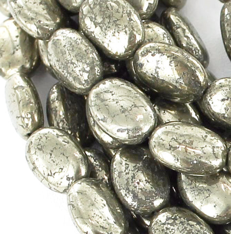 "PYRITE OVAL 10x14mm BEADS 16"" - New World Gems - 2"