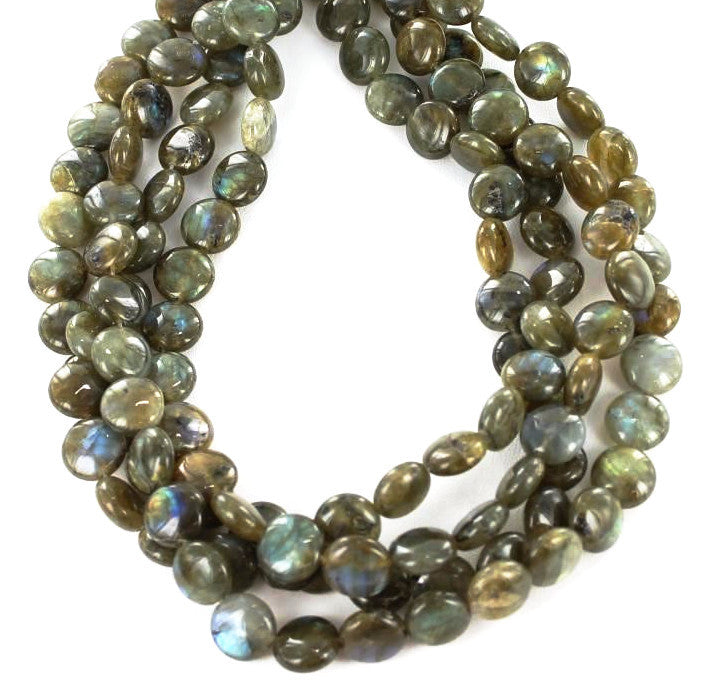 LABRADORITE COIN BEADS 12mm - New World Gems - 1