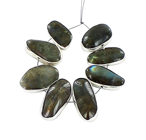 STERLING SILVER RIMMED LABRADORITE SIDE DRILLED BEADS 8 Pcs - New World Gems