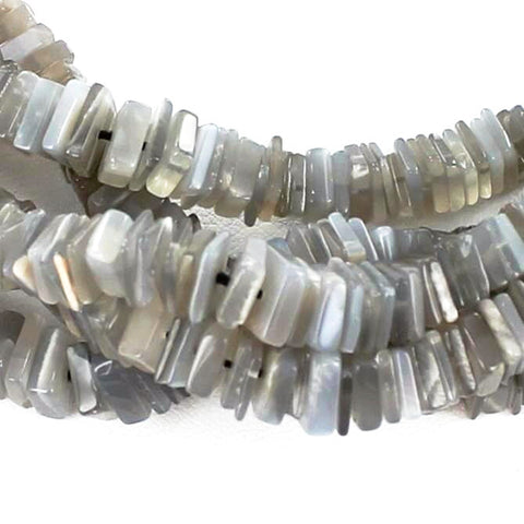 "SILVER MOONSTONE SQUARE CUT BEADS 4-7mm 17"" - New World Gems - 2"