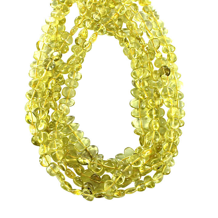 SIDE DRILLED BRAZILIAN LEMON QUARTZ BEADS