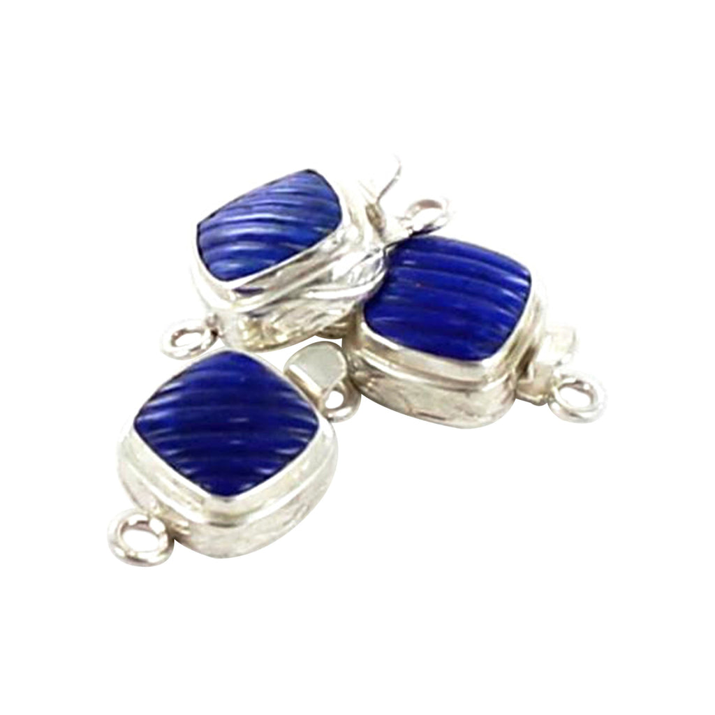 Lapis Clasp Sterling Geometric Carved - New World Gems
