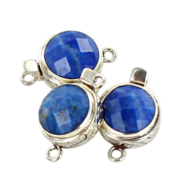 Lapis Clasp Round Faceted Denim 15mm - New World Gems