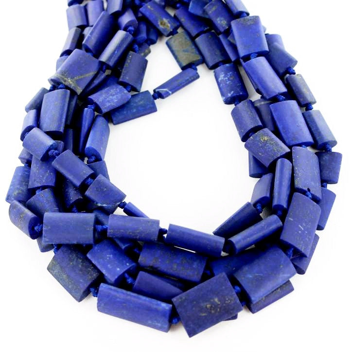 "MATTE FINISH LAPIS FLAT BARREL BEADS 16"" - New World Gems - 1"