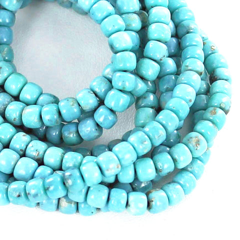 MEXICAN TURQUOISE PUEBLO BEADS AQUA BLUE MATRIX - New World Gems - 2