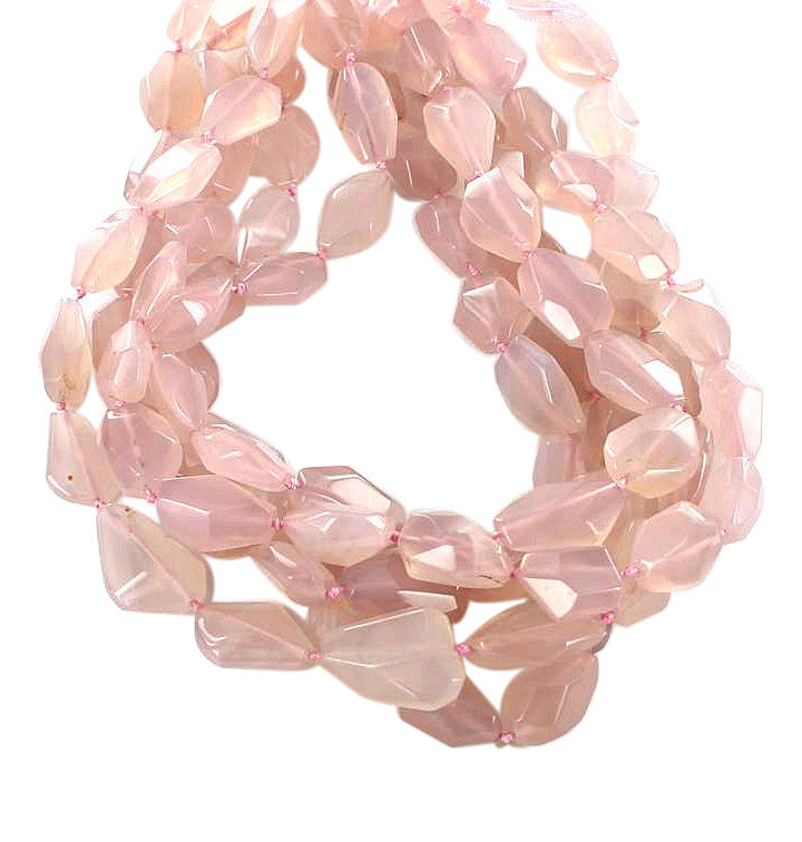 FACETED PINK CHALCEDONY BEADS FACETED POTATO - New World Gems