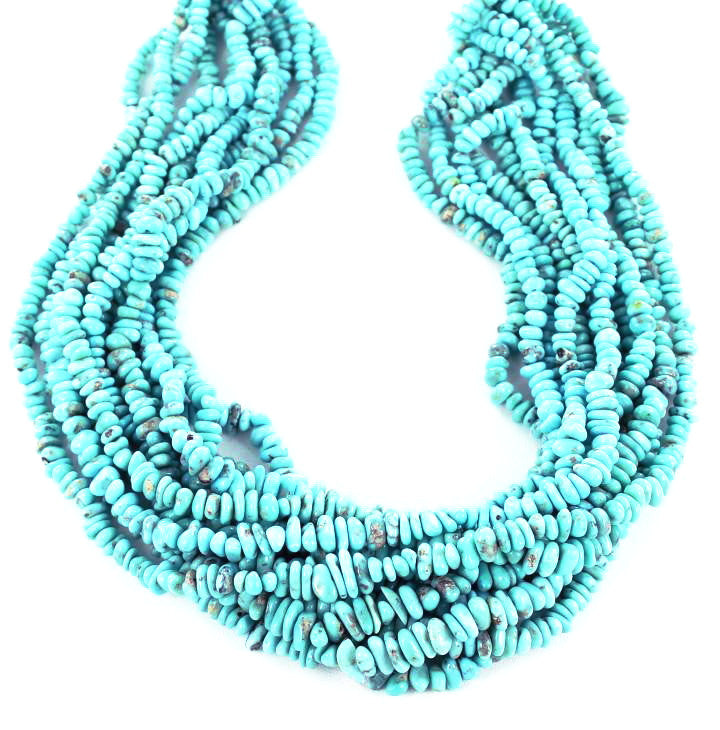 "ARMENIAN TURQUOISE NUGGET BEADS 4-7mm 16"" - New World Gems"