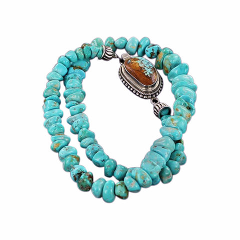 ARMENIAN TURQUOISE NECKLACE BLUE NUGGET BEADS - New World Gems - 2