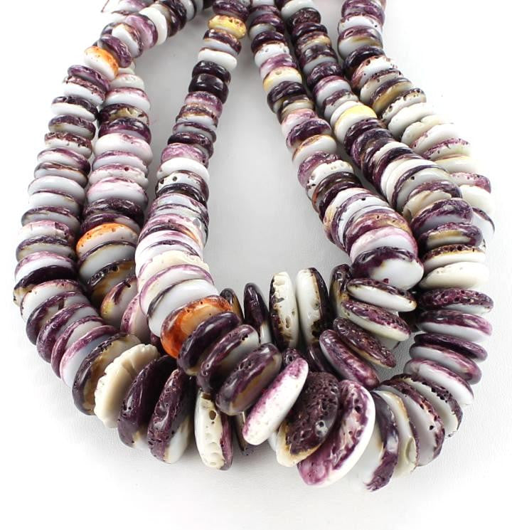 "RARE PURPLE SPINEY OYSTER BEADS 10-25mm 16"" - New World Gems - 1"