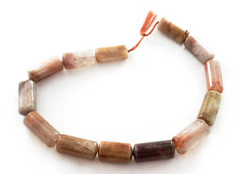 RED RUTILATED QUARTZ BARREL BEADS LARGE - New World Gems