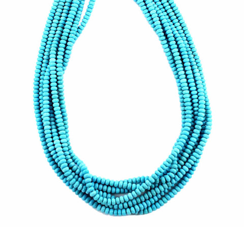 GENUINE SLEEPING BEAUTY TURQUOISE BEADS 4.5mm RONDELLE - New World Gems - 1