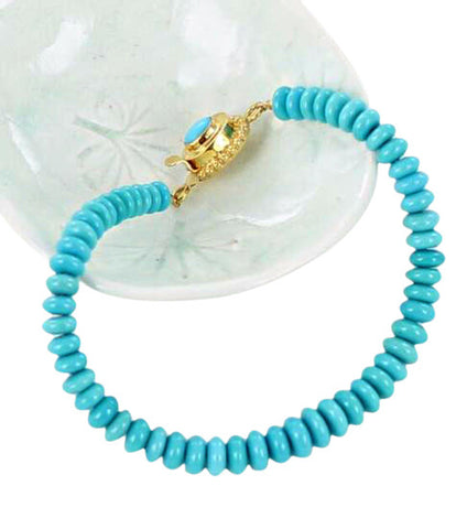 SLEEPING BEAUTY TURQUOISE 18K GOLD BRACELET - New World Gems