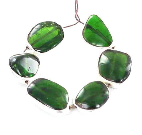 STERLING SILVER RIMMED CHROME DIOPSIDE BEADS 7 Pcs - New World Gems