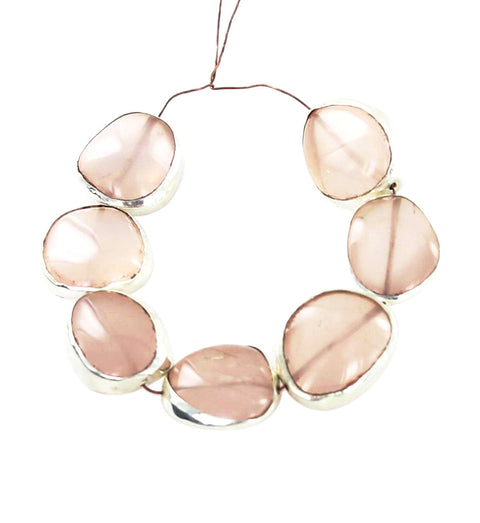 STERLING SILVER RIMMED PINK CHALCEDONY BEADS FREE FORM 7 Pcs - New World Gems
