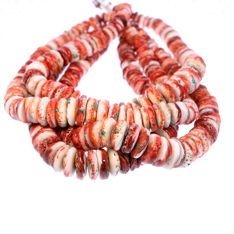 SPINY OYSTER BEADS RED with Turquoise Inlay 16""