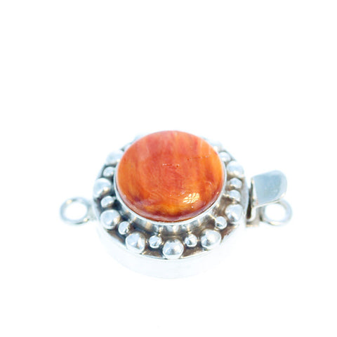 ORANGE SPINY OYSTER Clasp Sterling Dot Design Round 14mm