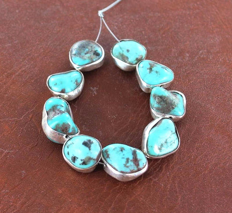 Sterling Rimmed MEXICAN TURQUOISE BEADS Campitos 9Pcs - New World Gems - 1