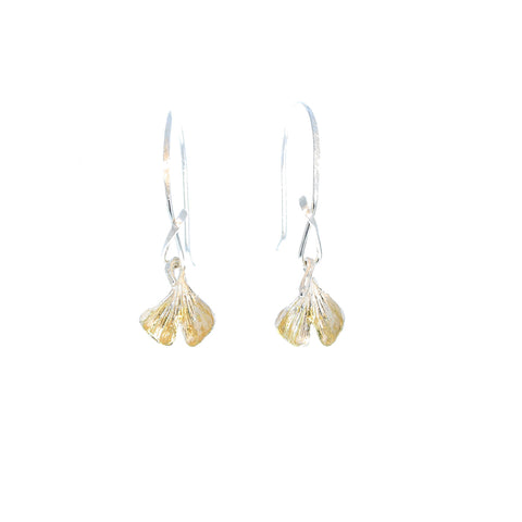 Sterling and 22K Gold Ginko Leaf Earrings Handmade