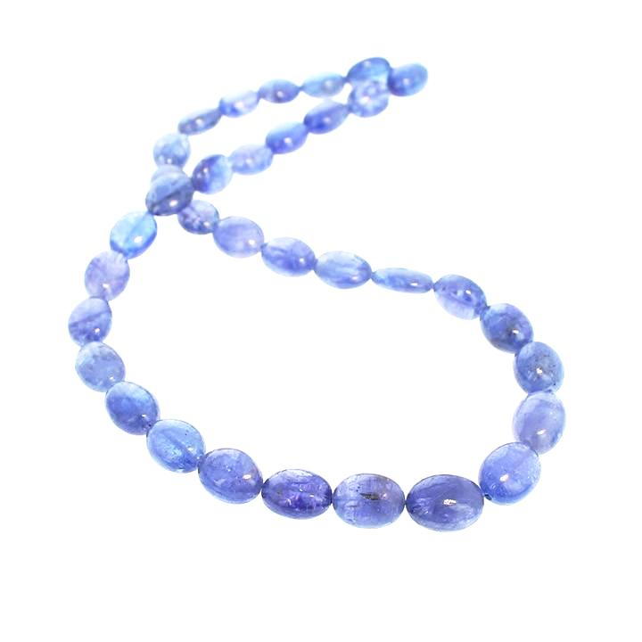 TANZANITE BEADS GRADUATED OVAL 7-11.5mm