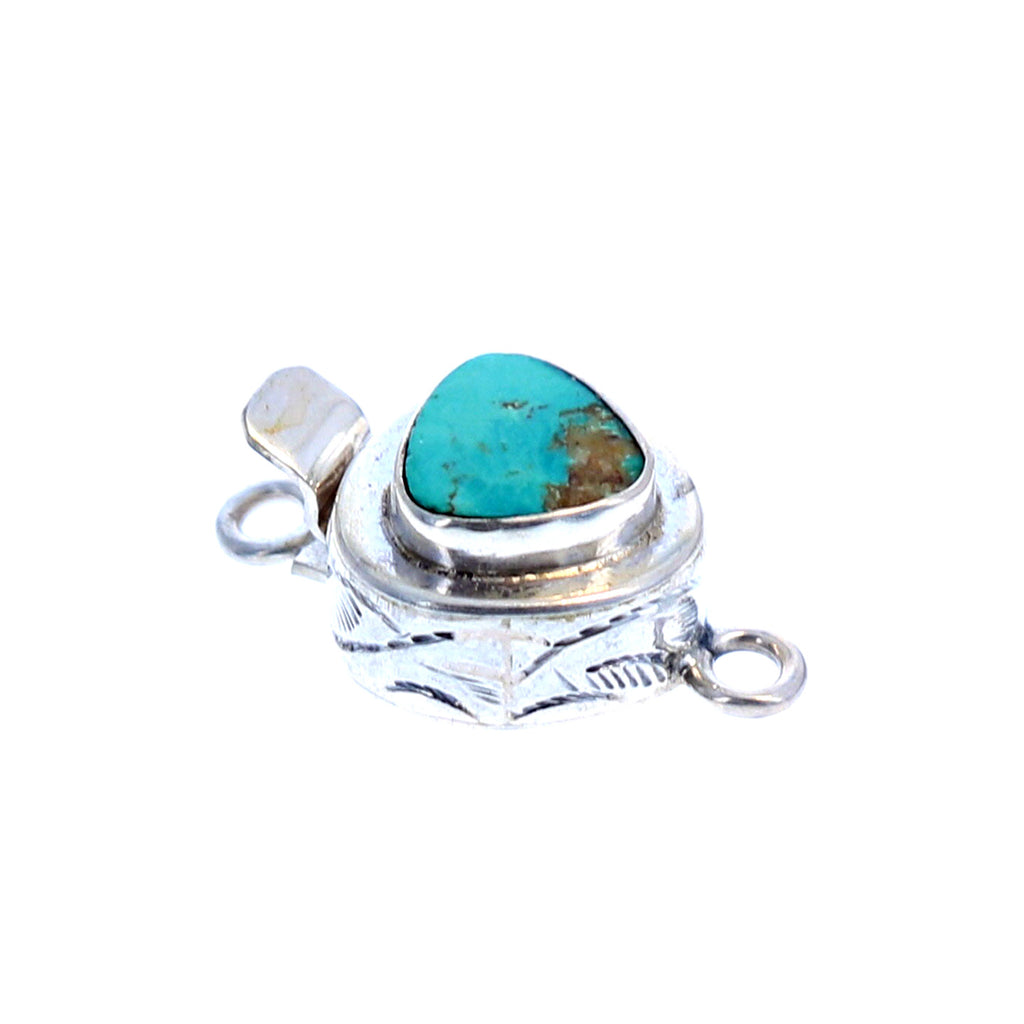 CHINESE TURQUOISE STERLING CLASP TRILLION SHAPE