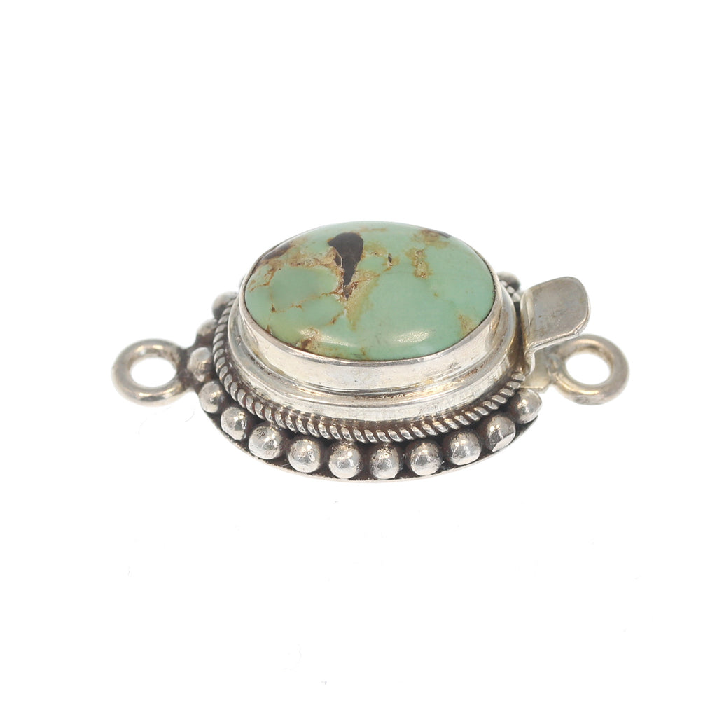 CARICO LAKE TURQUOISE CLASP STERLING OVAL BALL WIRE