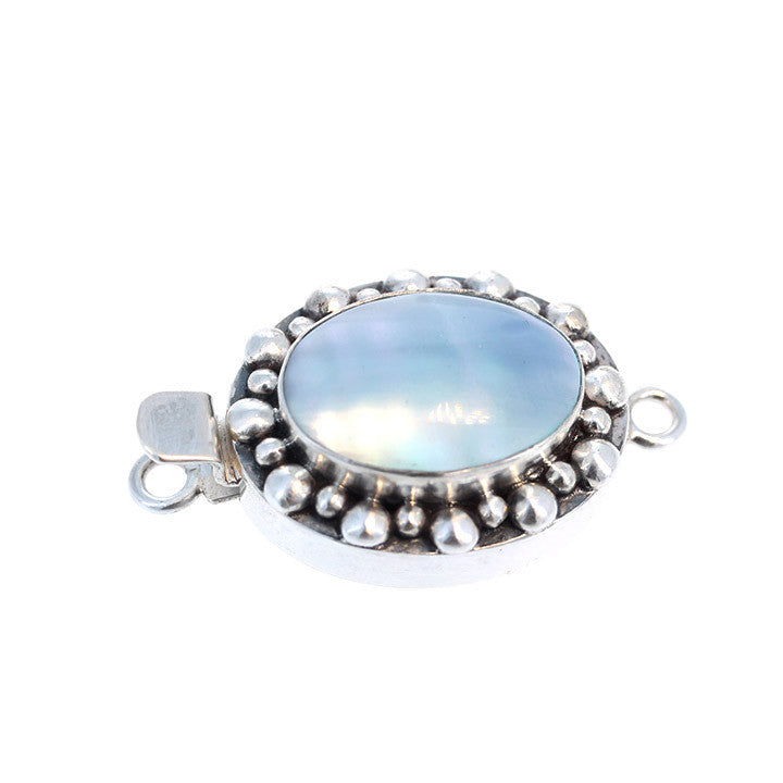 Osmina Shell Clasp Blue Oval Large Ball Design