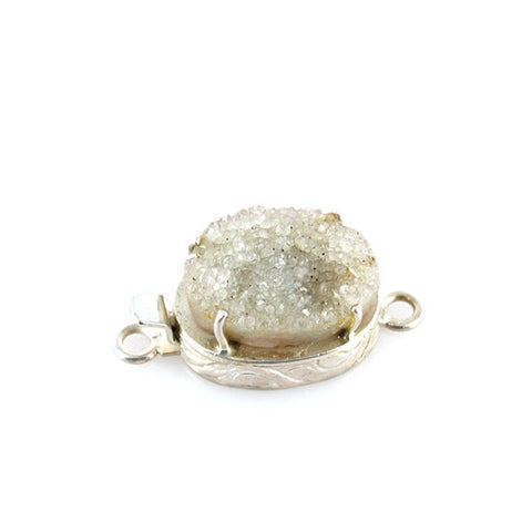 LIGHT CHAMPAGNE DRUSY QUARTZ GEODE STERLING CLASP - New World Gems