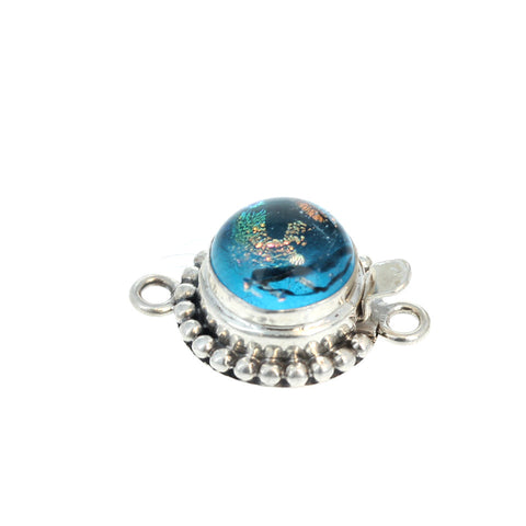 DICHRIOC GLASS Clasp Sterling Silver Blue Rainbow 10mm
